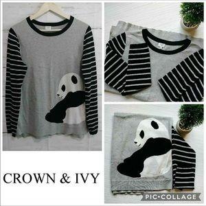 crown & ivy panda sweater